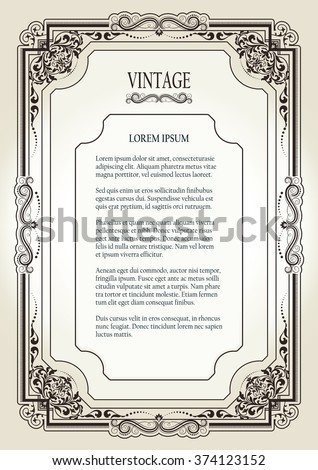 Floral, Vintage, Ornamental Frame on light Background for page, certificate, card, invitation, postcard and book decorations, photo frames template, Victorian style borders for creative design - stock vector