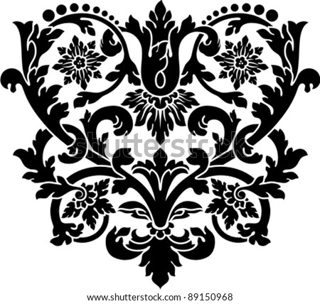 floral vintage pattern. clip art optimized for  cutting on plotter. Stencil for decor. - stock vector