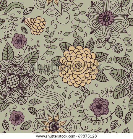 Floral vintage seamless pattern for stylish wallpapers in green colors
