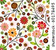 Floral vivid seamless pattern with colorful flowers (vector) - stock vector