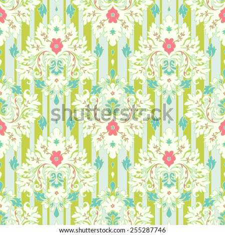 Floral wallpaper damask pattern and  striped background - stock vector