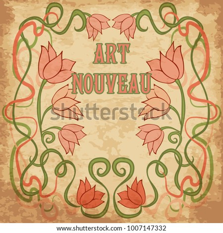 Floral wallpaper in art nouveau style, vector illustration