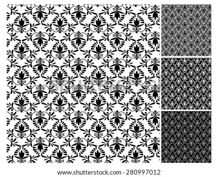 Floral wallpaper pattern vector illustration Floral background Ornamental elegant flower designs in vintage style Swirly plants vignette Seamless pattern 4 decorate wall, paper, carpets, fabric print  - stock vector