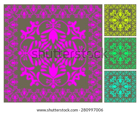Floral wallpaper pattern vector illustration Floral background Ornamental modern flower designs in neon colors Swirly plants vignette Seamless pattern 4 decorate wall, tiles, carpets, fabric print  - stock vector