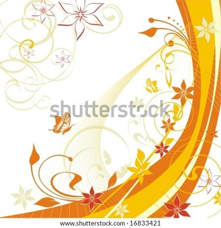 floral wavy background - stock vector