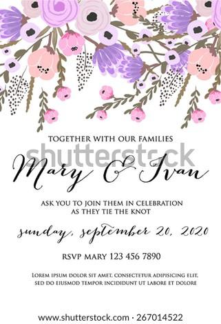 Floral wedding Invitation - stock vector