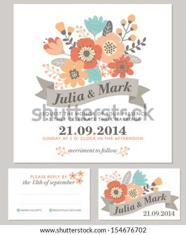 Floral wedding invitation - autumn colors - stock vector