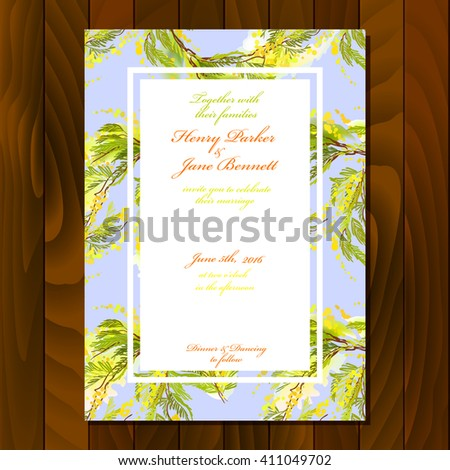 Floral wedding invitation card with watercolor style branches and yellow flowers and leaves. For wedding, party birthday celebration. Vertical blue floral card on wooden texture background.  - stock vector
