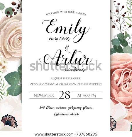 Floral wedding invitation elegant invite card stock photo photo floral wedding invitation elegant invite card vector design garden flower lavender pink peach rose white stopboris