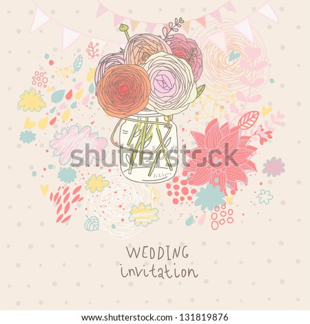 Floral wedding invitation. Flowers in jar - cartoon vector background. Spring concept wallpaper in pastel colors - stock vector