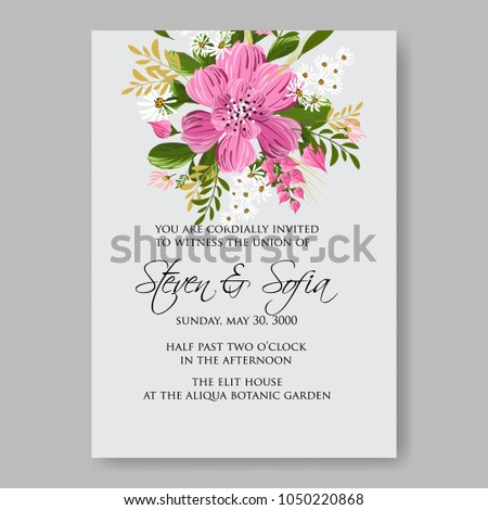 Floral wedding invitation vector template marriage stock vector floral wedding invitation vector template marriage ceremony announsment pink dahlia stopboris Images