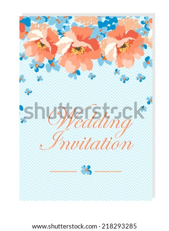 Floral Wedding Invitation Blue Coral Flowers Stock Vector 218293285