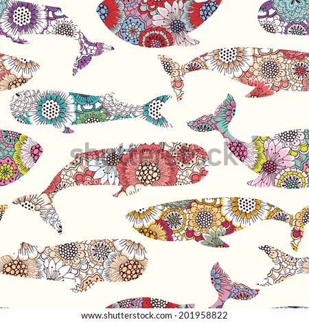 Floral whales seamless pattern - stock vector