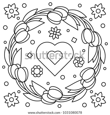 floral wreath coloring page vector illustration - Wreath Coloring Page