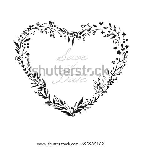 Floral Wreath In Shape Of Heart For Valentine Day And Wedding Design Beautiful Rustic