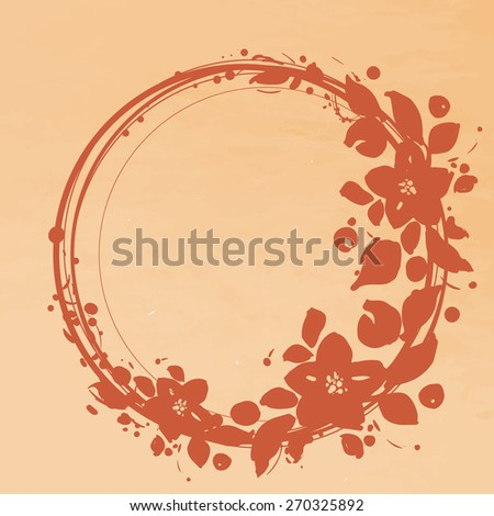 Floral wreath. Invitation. Wedding or birthday card. Floral frame.  - stock vector