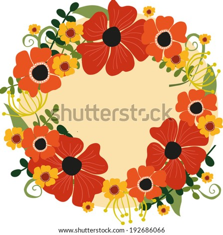 Floral wreath.   Vector illustration.