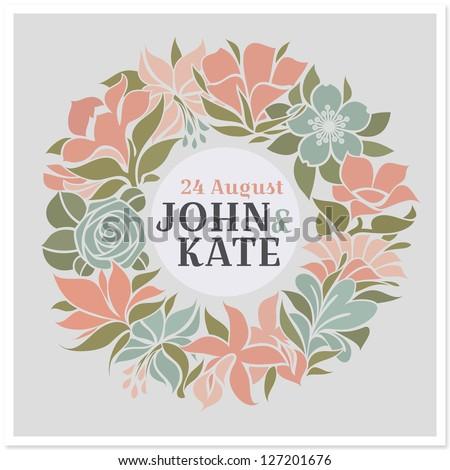 Floral wreath - vector wedding design - stock vector