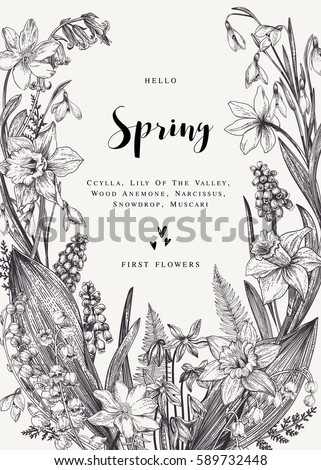 Floral Wreath With Spring Flowers Vector Vintage Botanical Illustration Black And White