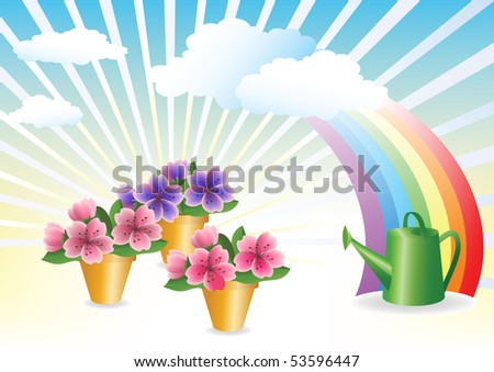 Floriculture. Flower growing. Vector illustration. - stock vector