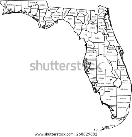 Florida counties map and names - stock vector