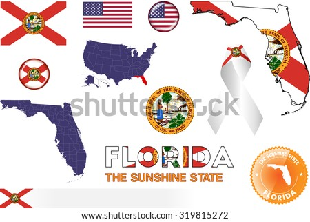 Florida Icons. Set of vector graphic images and symbols representing the US State of Florida.