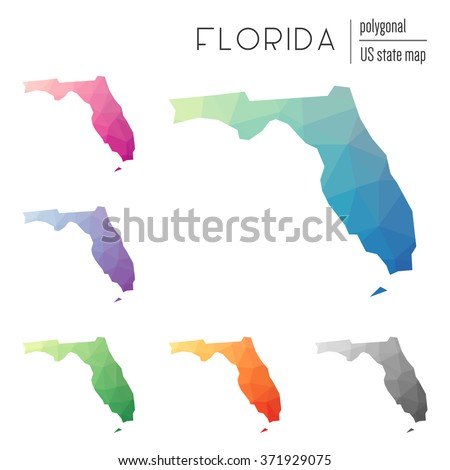 Florida State Map Geometric Polygonal Style Stock Vector - Florida state map