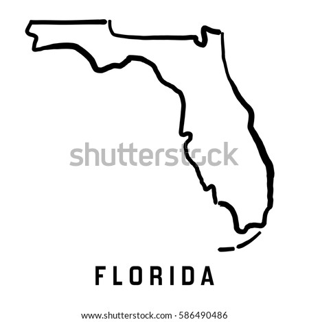 Florida State Map Outline Smooth Simplified Us State Shape Map Vector