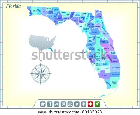 Florida Map Stock Images RoyaltyFree Images Vectors Shutterstock - State map florida