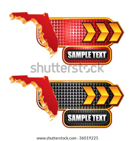 florida state shape on arrow banners - stock vector