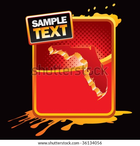 florida state shape on gold and red grunge web template - stock vector