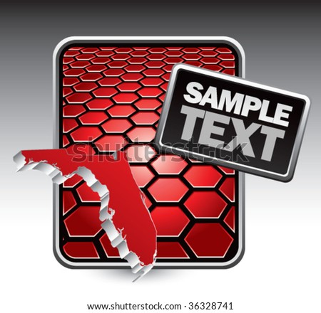 florida state shape on red cracked banner - stock vector