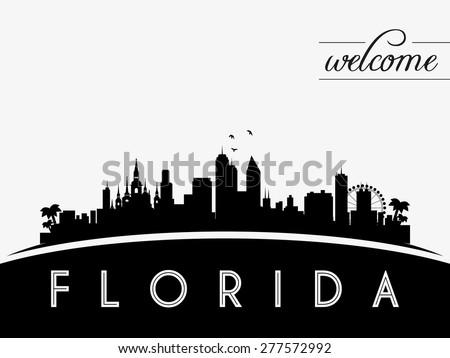 Florida USA skyline silhouette, black and white design, vector illustration - stock vector