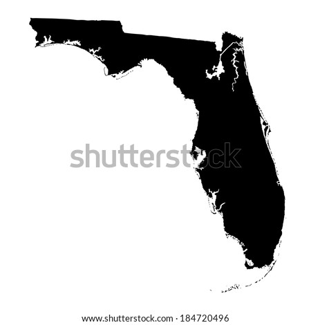 Florida vector map isolated on white background. High detailed vector illustration. - stock vector