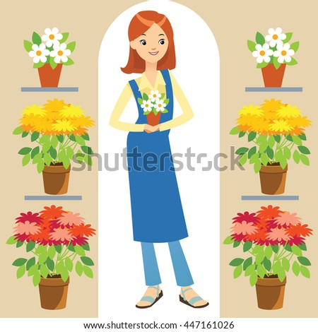 Vector Illustration Beautiful Florist Working Bunch Stock Vector ...