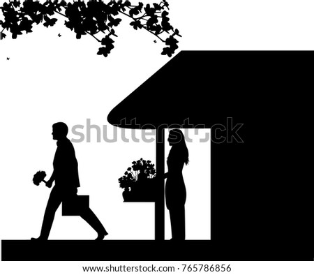 Florist girl holding a bouquet of flowers in the flower shop and sold to a man who goes to work silhouette, one in the series of similar images