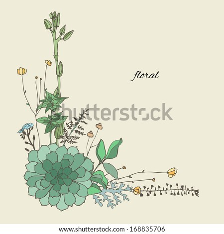 Floristic composition of the outfield grass and succulent. Vector illustration. - stock vector