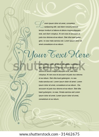 """Flourish background with suggested text placement. Page size is 9"""" x 12"""". - stock vector"""