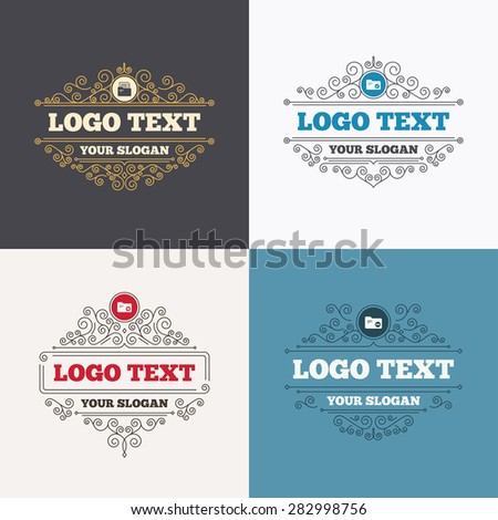 Flourishes calligraphic emblems. Accounting binders icons. Add or remove document folder symbol. Bookkeeping management with checkbox. Luxury ornament lines. Vector - stock vector