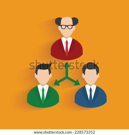 Flow chart, businessman symbol on orange background,clean vector - stock vector