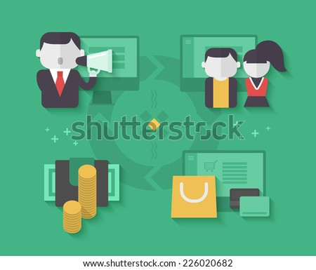 Flow chart of affiliate marketing process. E-commerce marketing concept - stock vector