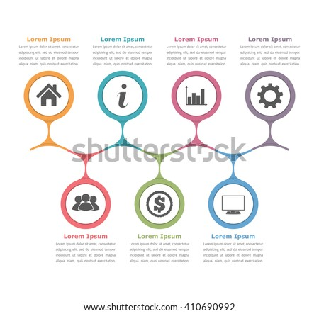 Flow chart template with icons and text, process diagram infographics, business infographics, vector eps10 illustration - stock vector