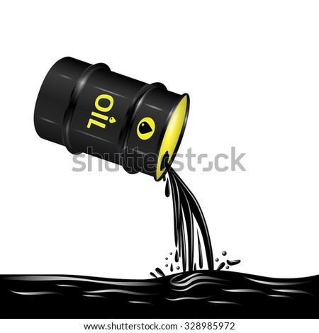 Flow of oil from barrel illustration, 3d vector object, environmental pollution concept, eps 10 - stock vector