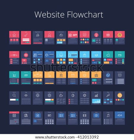 Flowchart cards for website structure planning. Pixel-perfect layered vector illustration. - stock vector