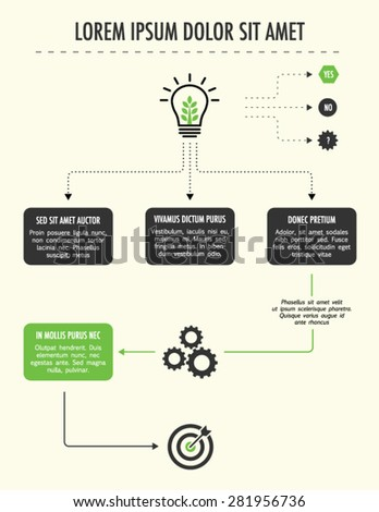 Flowchart diagram for presentation. Business concept. Developing idea flowchart.  - stock vector