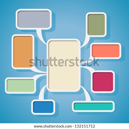 Flowchart with colored clouds is shown in the image. - stock vector
