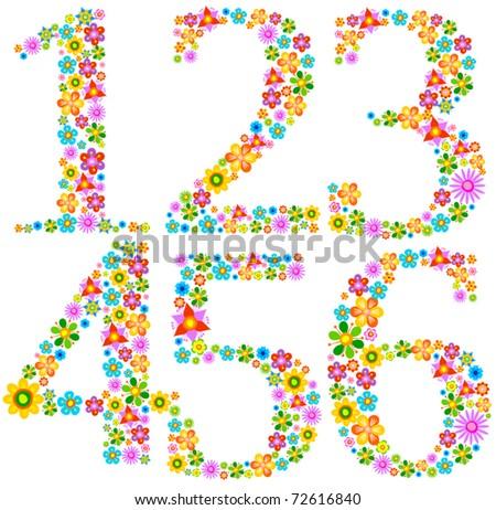 Flower alphabet Characters 1-6 - stock vector