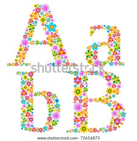 Flower alphabet Characters a-b - stock vector