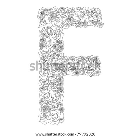 Flower alphabet of red roses, characters F - stock vector
