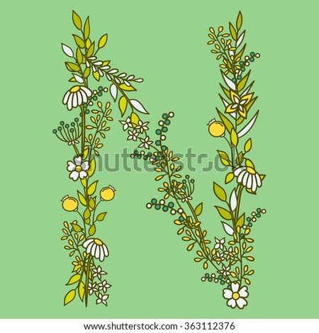 Flower alphabet vector design. Set of letters. Floral abc. Font with leaves, flowers and stems. Letter of flowers - stock vector